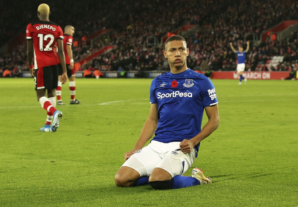 Everton's Richarlison celebrates scoring his side's second goal of the game, during the English Premier League soccer match between Southampton and Ev...