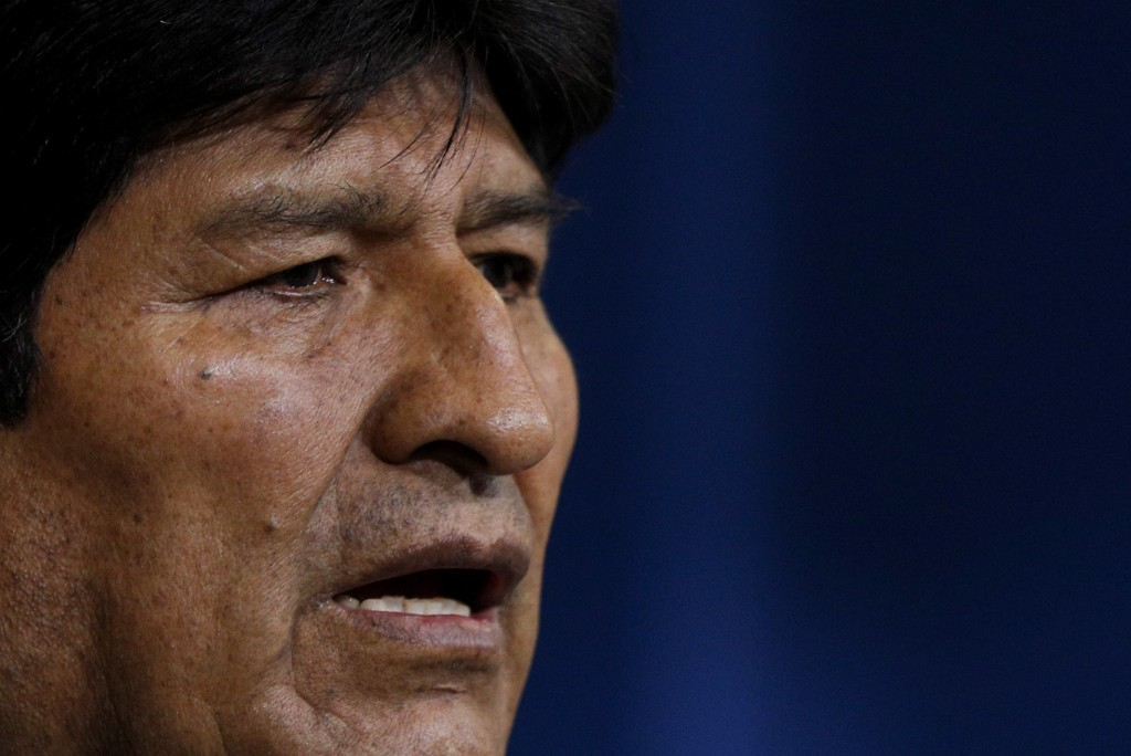 Bolivia's President Evo Morales looks on during a press conference in La Paz, Bolivia, Sunday, Nov. 10, 2019. Morales is calling for new presidential ...