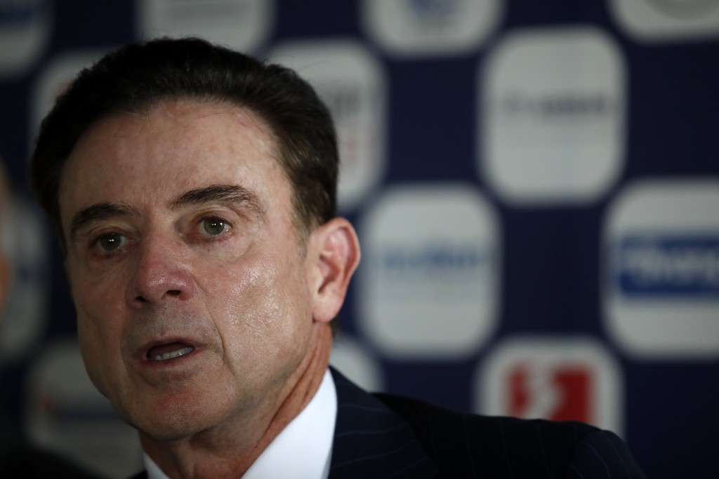 Rick Pitino the new coach of the Greek national basketball team answers to a question during a press conference in Athens, Monday, Nov. 11, 2019.  The...