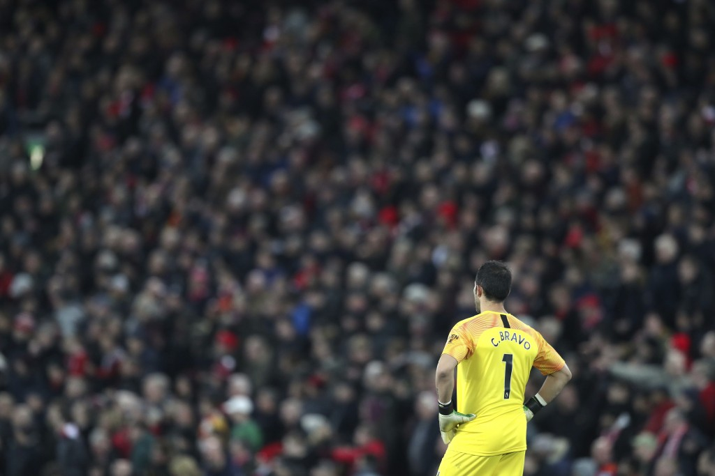 Manchester City's goalkeeper Claudio Bravo stands during the English Premier League soccer match between Liverpool and Manchester City at Anfield stad...