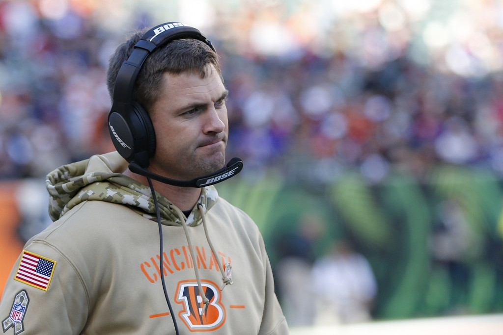 Cincinnati Bengals head coach Zac Taylor reacts during the second half of NFL football game against the Cincinnati Bengals, Sunday, Nov. 10, 2019, in ...