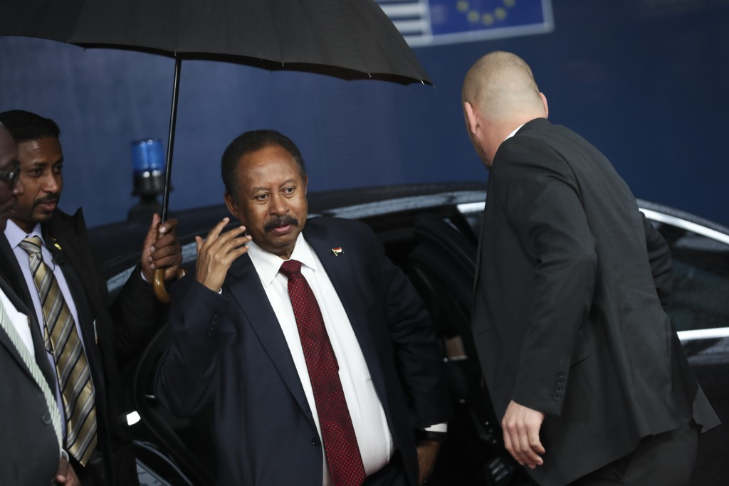 Sudan's Prime Minister Abdalla Hamdok arrives to the European Council headquarters in Brussels, Monday, Nov. 11, 2019. (AP Photo/Francisco Seco)