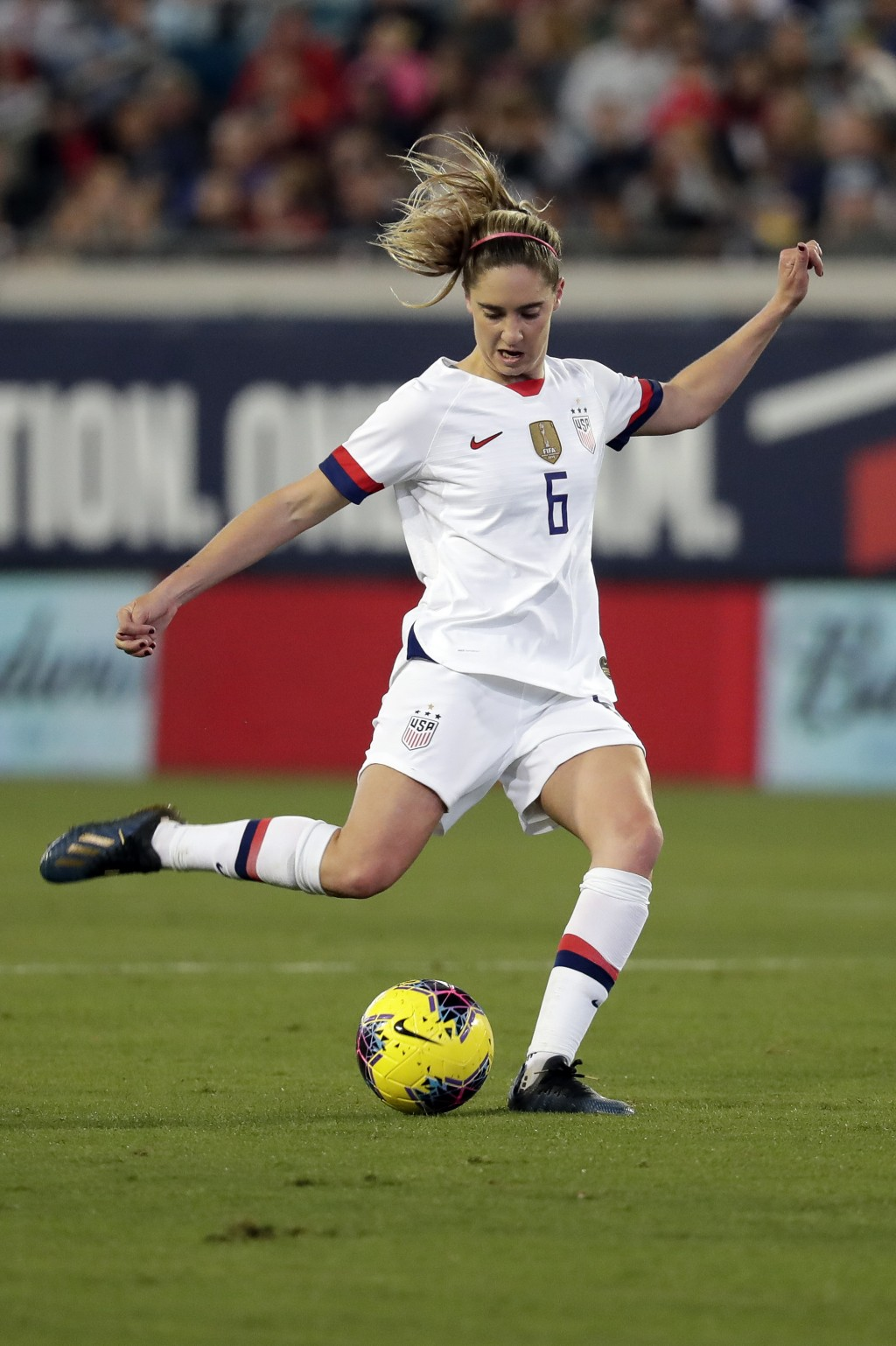 U.S. midfielder Morgan Brian (6) shoots against Costa Rica during the first half of an international friendly soccer match Sunday, Nov. 10, 2019, in J...