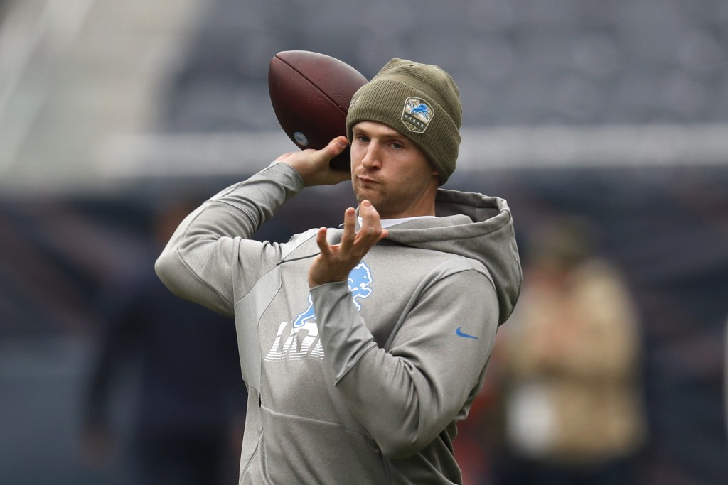 Detroit Lions quarterback Jeff Driskel throws before an NFL football game against the Chicago Bears in Chicago, Sunday, Nov. 10, 2019. (AP Photo/Charl...