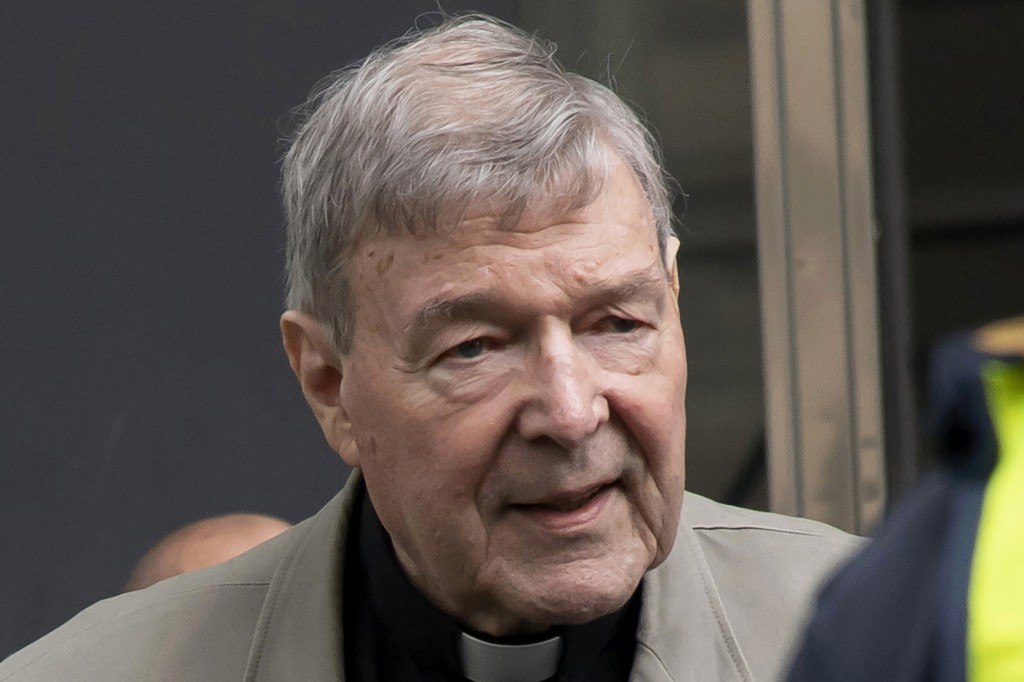 FILE - In this Feb. 26, 2019, file photo, Cardinal George Pell arrives at the County Court in Melbourne, Australia. Pell, the most senior Catholic to ...