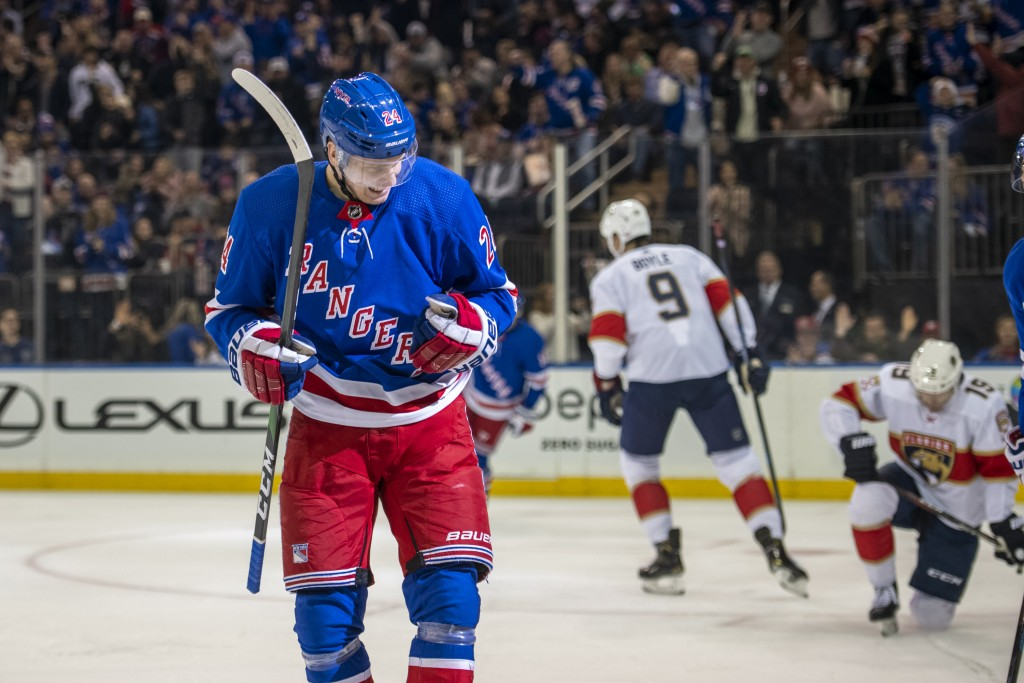 New York Rangers right wing Kaapo Kakko (24) celebrates his goal during the second period of an NHL hockey game against the Florida Panthers, Sunday, ...