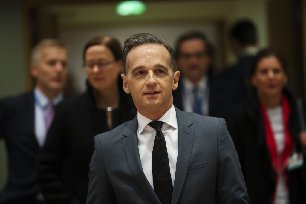 Germany's Foreign Minister Heiko Maas arrives to an European Foreign Affairs Ministers meeting at the Europa building in Brussels, Monday, Nov. 11, 20...