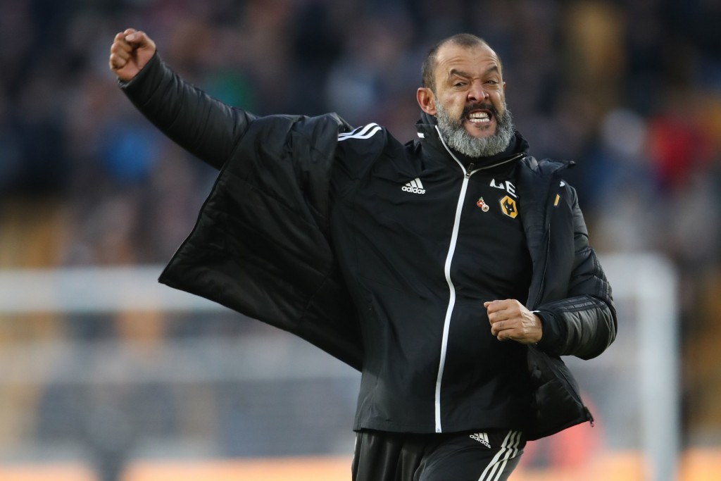 Wolverhampton Wanderers manager Nuno Espirito Santo celebrates after the final whistle , during the English Premier League soccer match between Wolver...