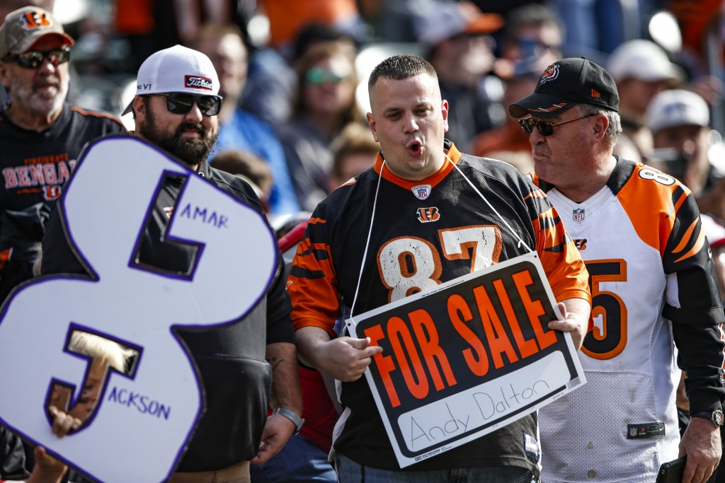 Fans jeer in the stands during the first half of NFL football game between the Cincinnati Bengals and the Baltimore Ravens, Sunday, Nov. 10, 2019, in ...