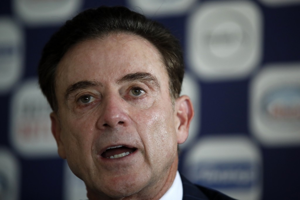 Rick Pitino the new coach of the Greek national basketball team answers during a press conference in Athens, Monday, Nov. 11, 2019. The 67-year-old Am...