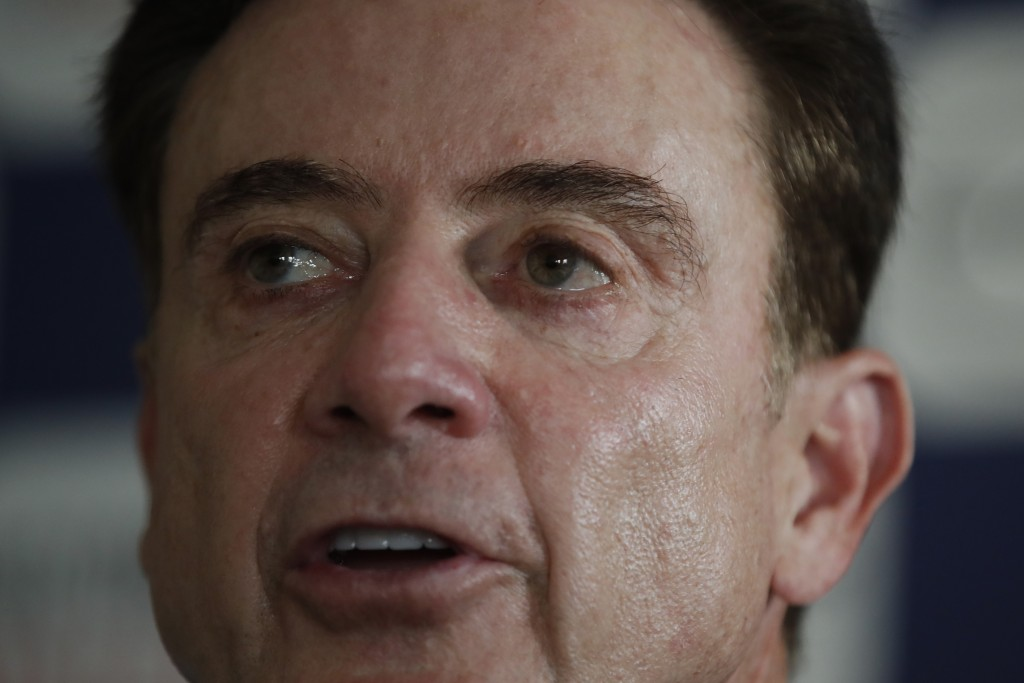 Rick Pitino the new coach of the Greek national basketball team answers to a question during a press conference in Athens, Monday, Nov. 11, 2019. The ...