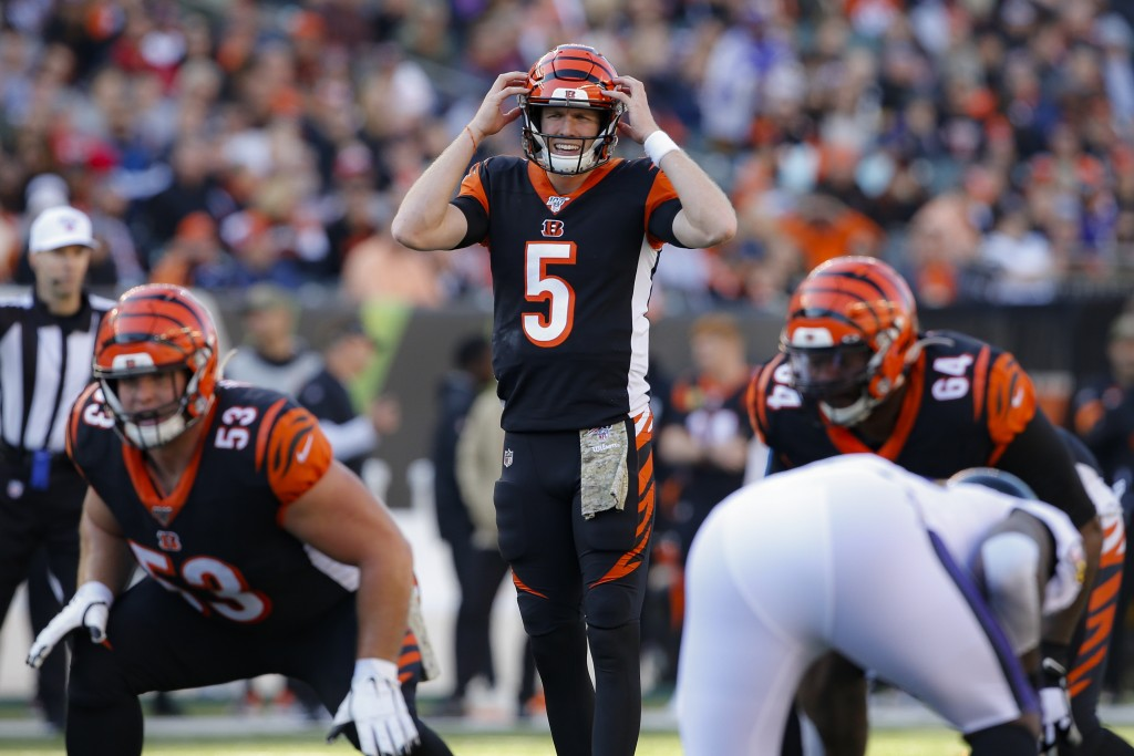 Cincinnati Bengals quarterback Ryan Finley (5) calls a play during the first half of NFL football game against the Baltimore Ravens, Sunday, Nov. 10, ...
