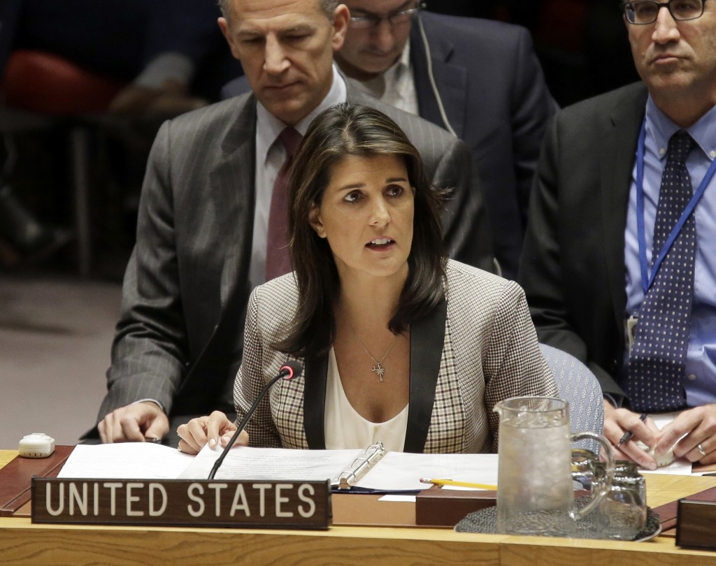 FILE-In this Monday, Nov. 26, 2018 file photo, United States Ambassador to the United Nations Nikki Haley speaks during a security council meeting at ...
