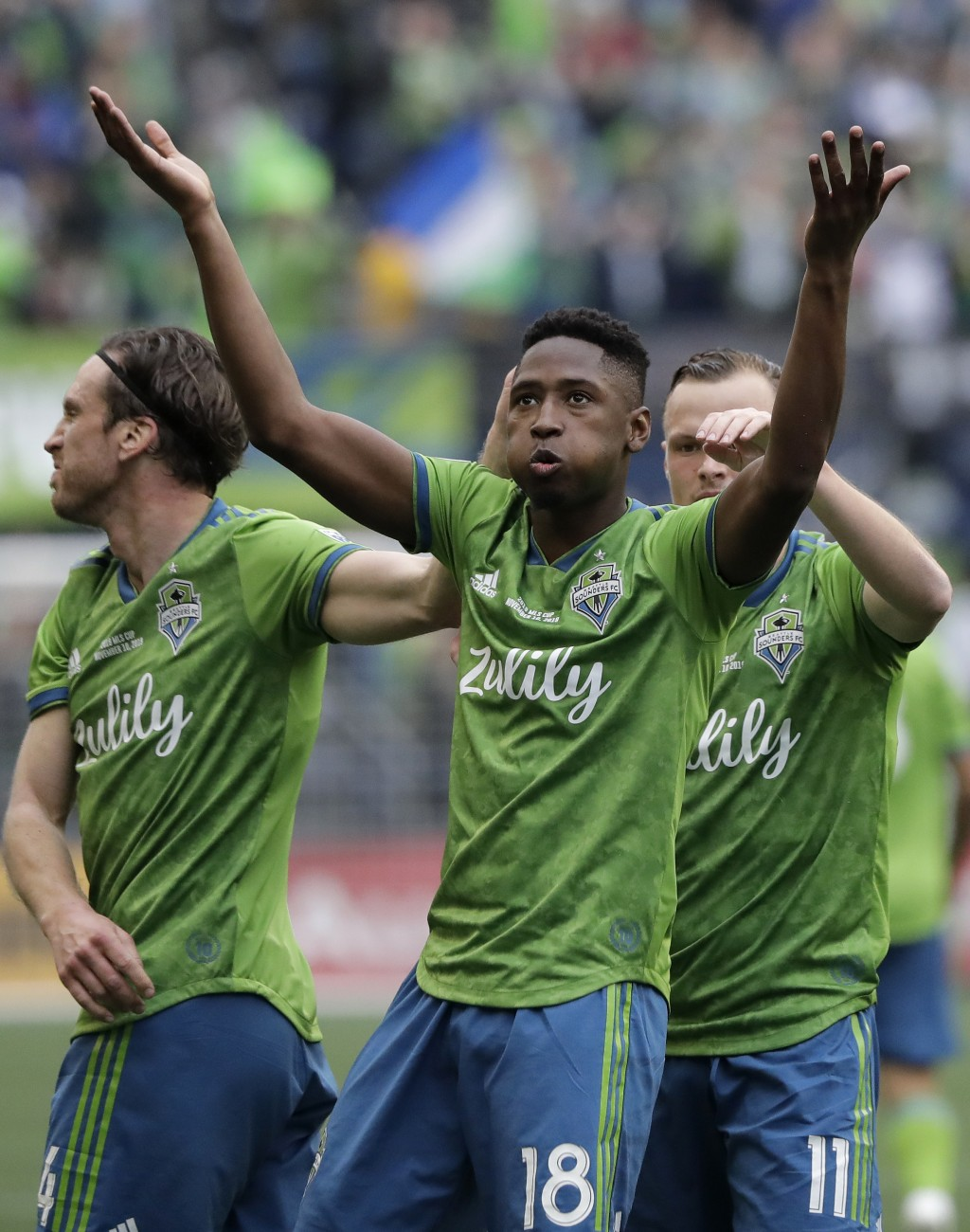 Seattle Sounders' Kelvin Leerdam (18) celebrates after scoring against the Toronto FC, Sunday, Nov. 10, 2019, during the second half of the MLS Cup ch...