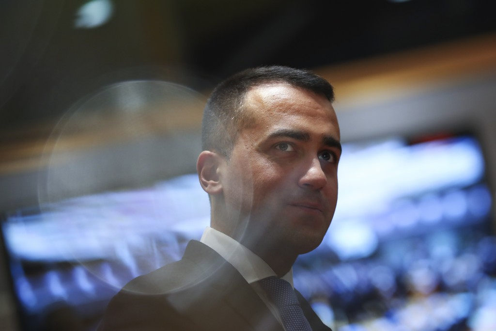 Italian Foreign Minister Luigi Di Maio arrives to an European Foreign Affairs Ministers meeting at the Europa building in Brussels, Monday, Nov. 11, 2...