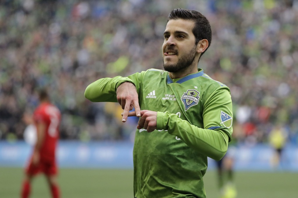 Seattle Sounders' Victor Rodriguez celebrates after scoring against the Toronto FC, Sunday, Nov. 10, 2019, during the second half of the MLS Cup champ...