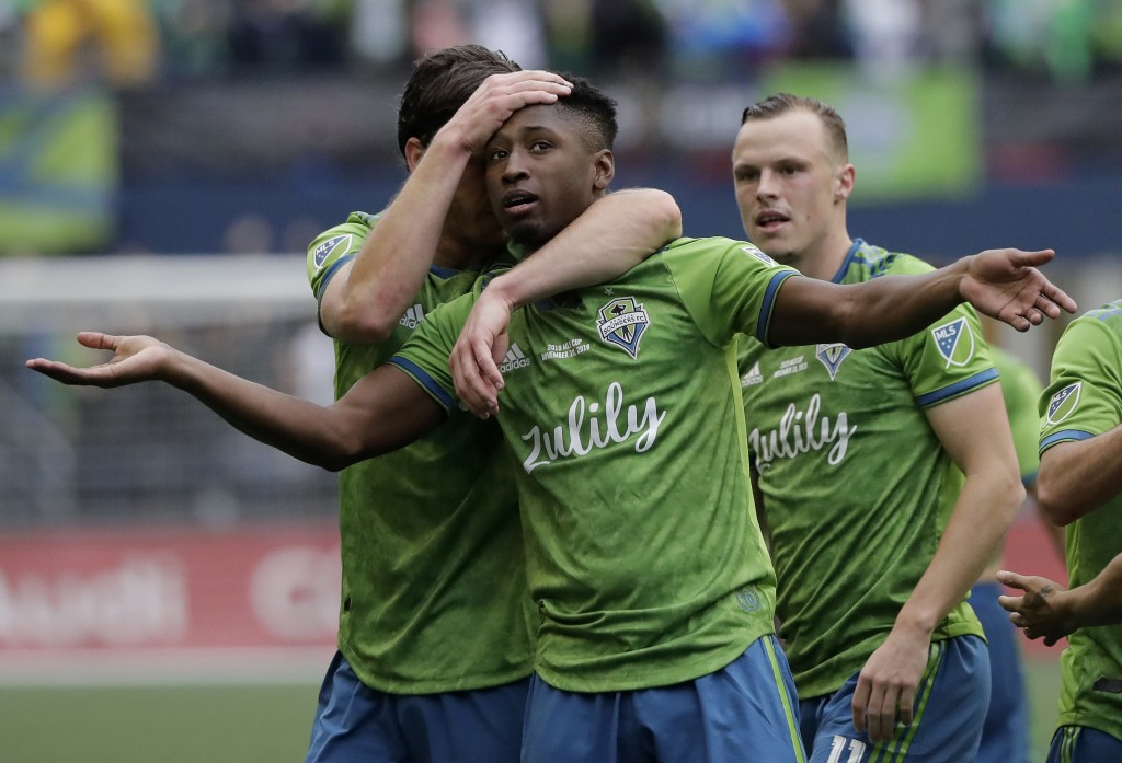 Seattle Sounders' Kelvin Leerdam celebrates after scoring against the Toronto FC, Sunday, Nov. 10, 2019, during the second half of the MLS Cup champio...
