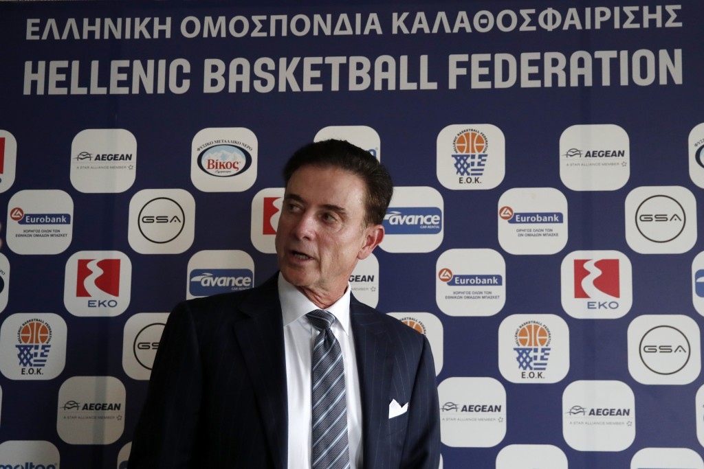 Rick Pitino the new coach of the Greek national basketball team leaves the panel after a press conference in Athens, Monday, Nov. 11, 2019. The 67-yea...