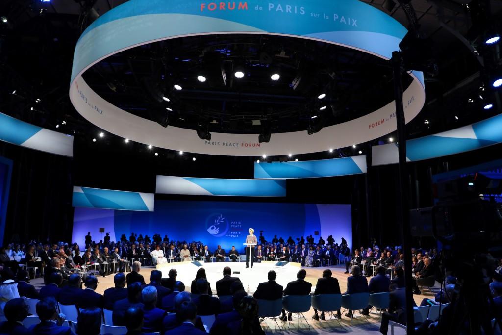 European Commission president Ursula von der Leyen delivers her speech at the start of the Paris Peace Forum Tuesday, Nov. 12, 2019 in Paris. (Ludovic...