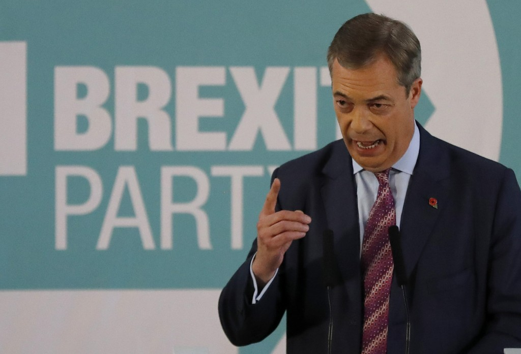 Brexit party leader Nigel Farage speaks during an event as part of the General Election campaign trail, in Hartlepool, England, Monday, Nov. 11, 2019....