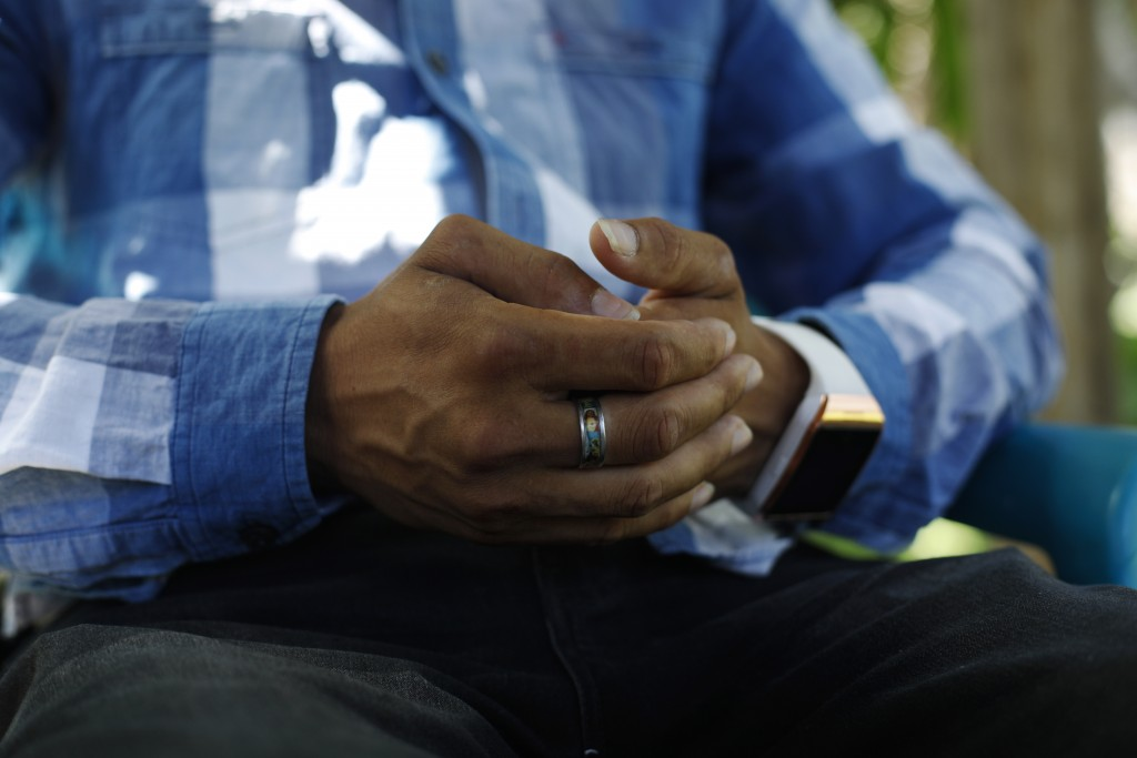 In this Aug. 23, 2019, photo, a Honduran father talks during an interview in Comayagua, Honduras about being separated from his 3-year-old daughter at...