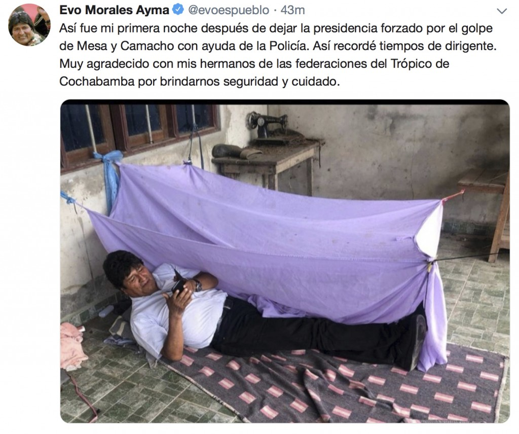 This screen grab of a tweet posted on the account of Bolivia's former President Evo Morales on Monday, Nov. 11, 2019, shows him lying on the floor at ...