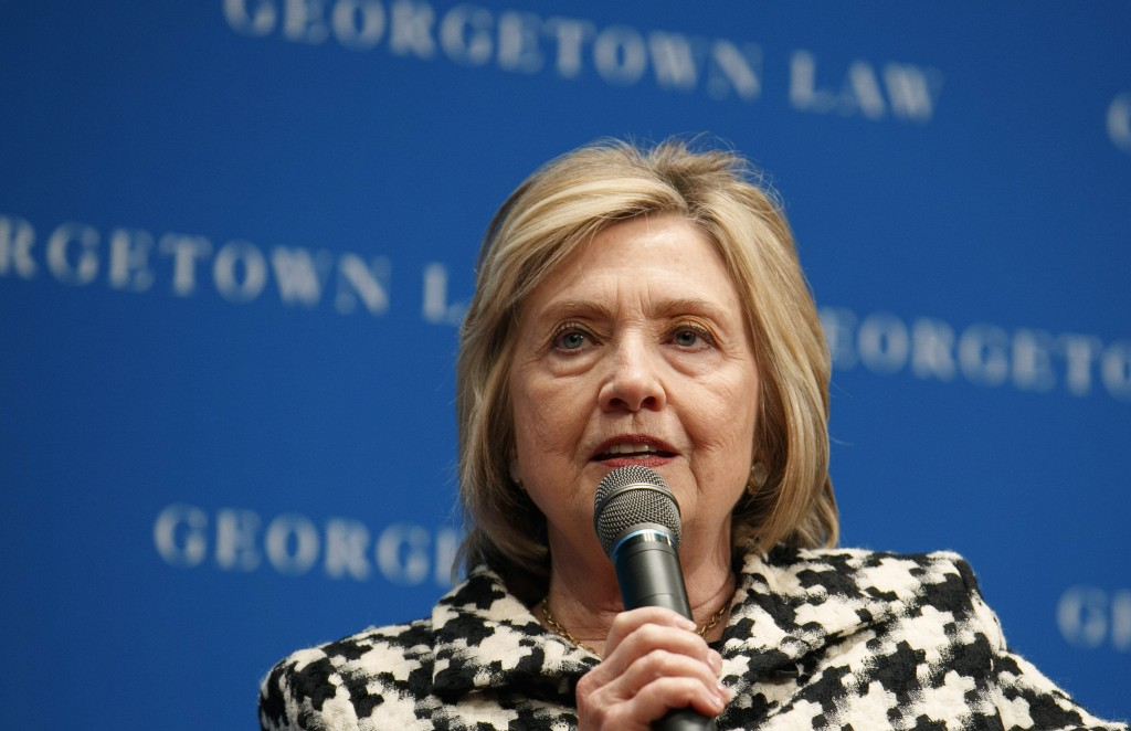 FILE - In this file photo dated Wednesday, Oct. 30, 2019, former U.S. Secretary of State Hillary Clinton speaks at Georgetown Law's second annual Ruth...