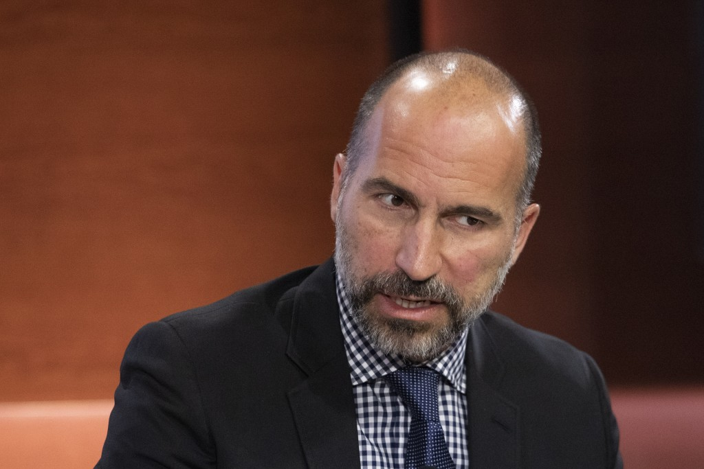 FILE - In this Sept. 25, 2019, file photo Dara Khosrowshahi, CEO of Uber, speaks at the Bloomberg Global Business Forum in New York. Khosrowshahi call...
