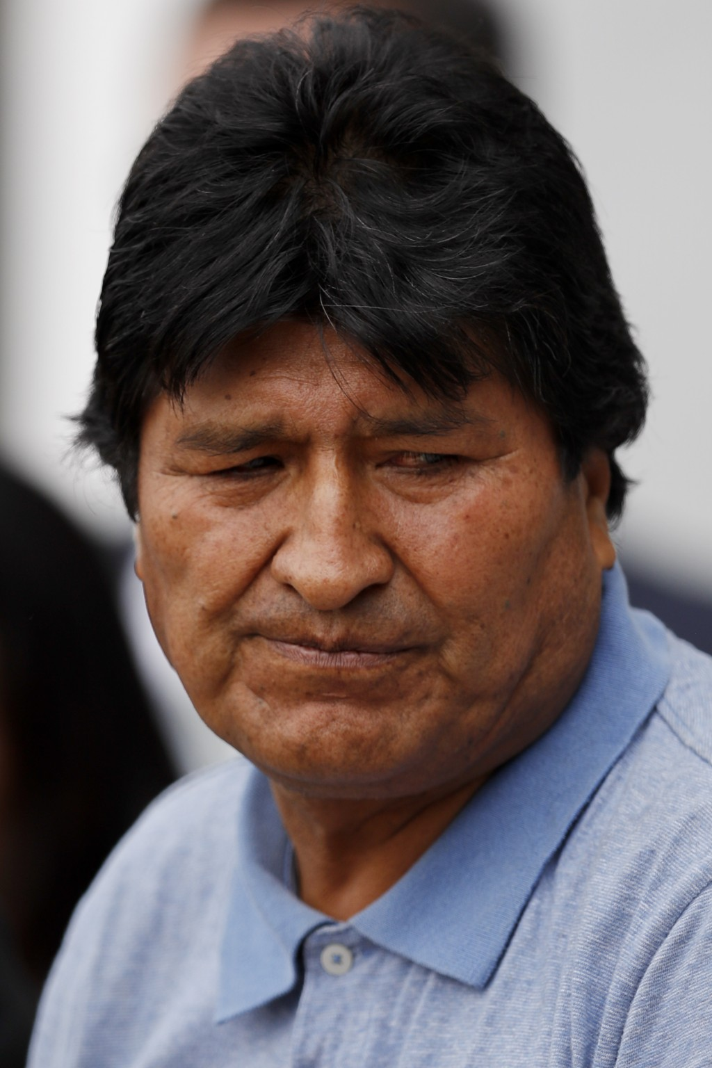 Former Bolivian President Evo Morales pauses as he speaks upon arrival in Mexico City, Tuesday, Nov. 12, 2019. Mexico granted asylum to Morales, who r...