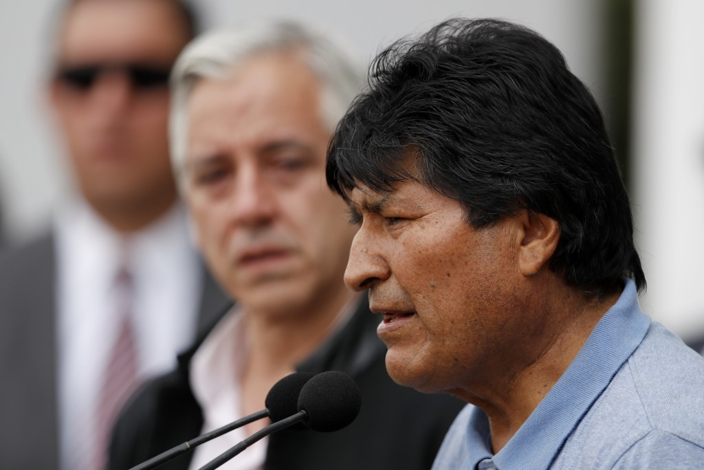 Former Bolivian President Evo Morales speaks upon his arrival in Mexico City, Tuesday, Nov. 12, 2019. Mexico granted asylum to Morales, who resigned o...