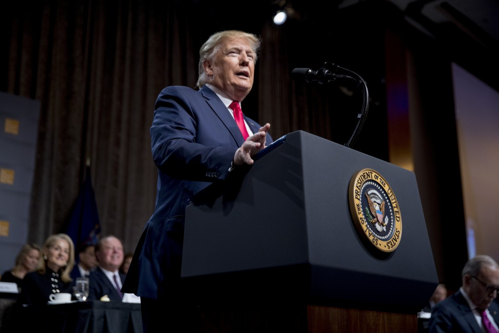 President Donald Trump speaks at the Economic Club of New York at the New York Hilton Midtown in New York, Tuesday, Nov. 12, 2019. (AP Photo/Andrew Ha...