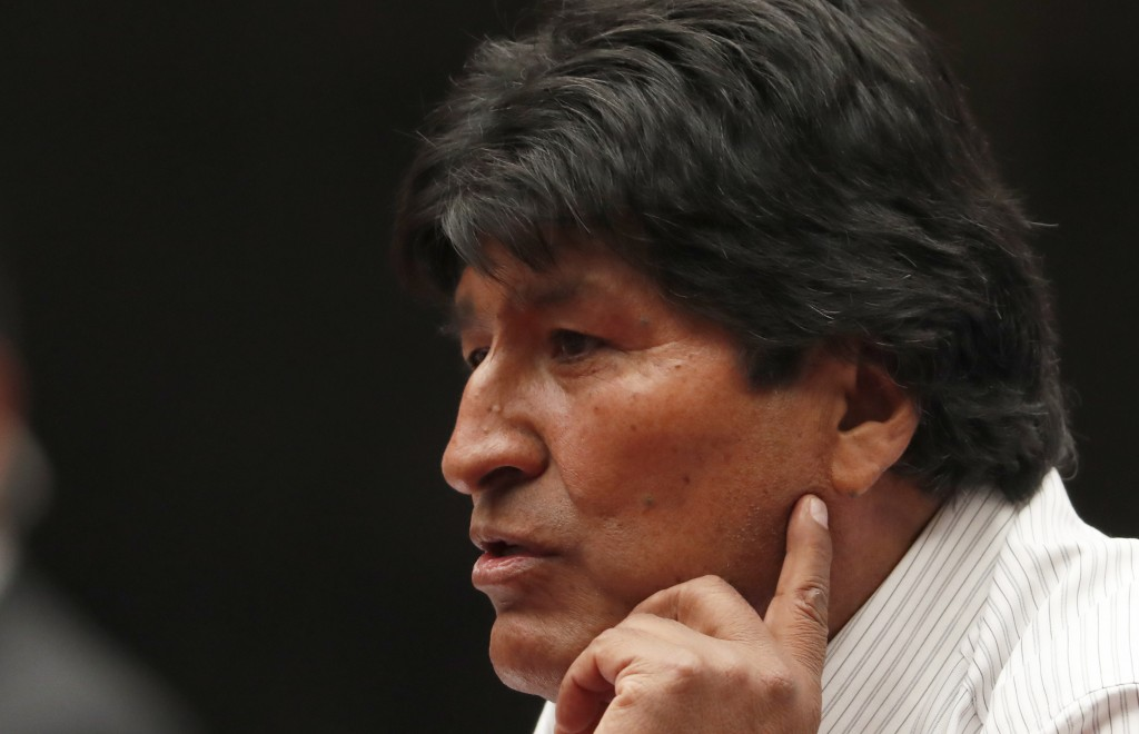 Bolivia's former President Evo Morales speaks during a press conference at the Museum of Mexico City, Wednesday, Nov. 13, 2019. Mexico has granted asy...