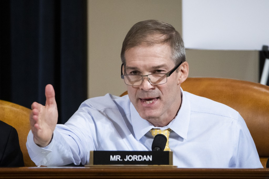 Rep. Jim Jordan, R-Ohio, speaks during a House Intelligence Committee hearing on Capitol Hill in Washington, Wednesday, Nov. 13, 2019, during the firs...