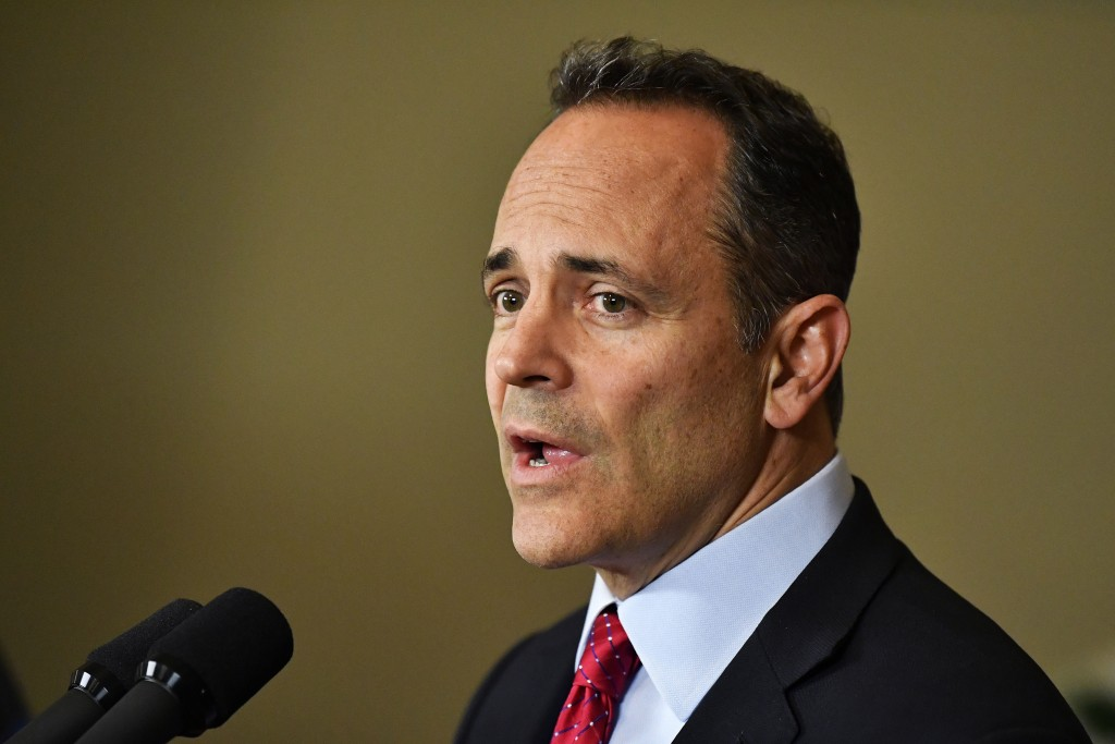FILE - In this Nov. 6, 2019, file photo, Kentucky Gov. Matt Bevin announces his intent to call for a recanvass of the voting results from Tuesday's gu...