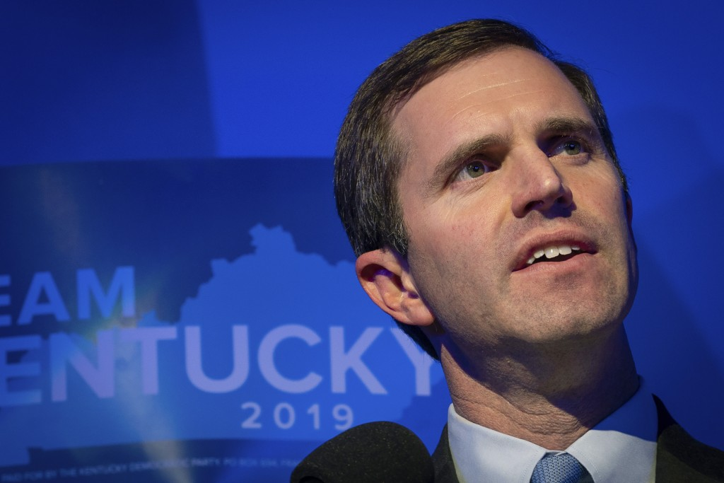 FILE - In this Nov. 5, 2019, file photo, Democratic gubernatorial candidate and Kentucky Attorney General Andy Beshear speaks at the Kentucky Democrat...