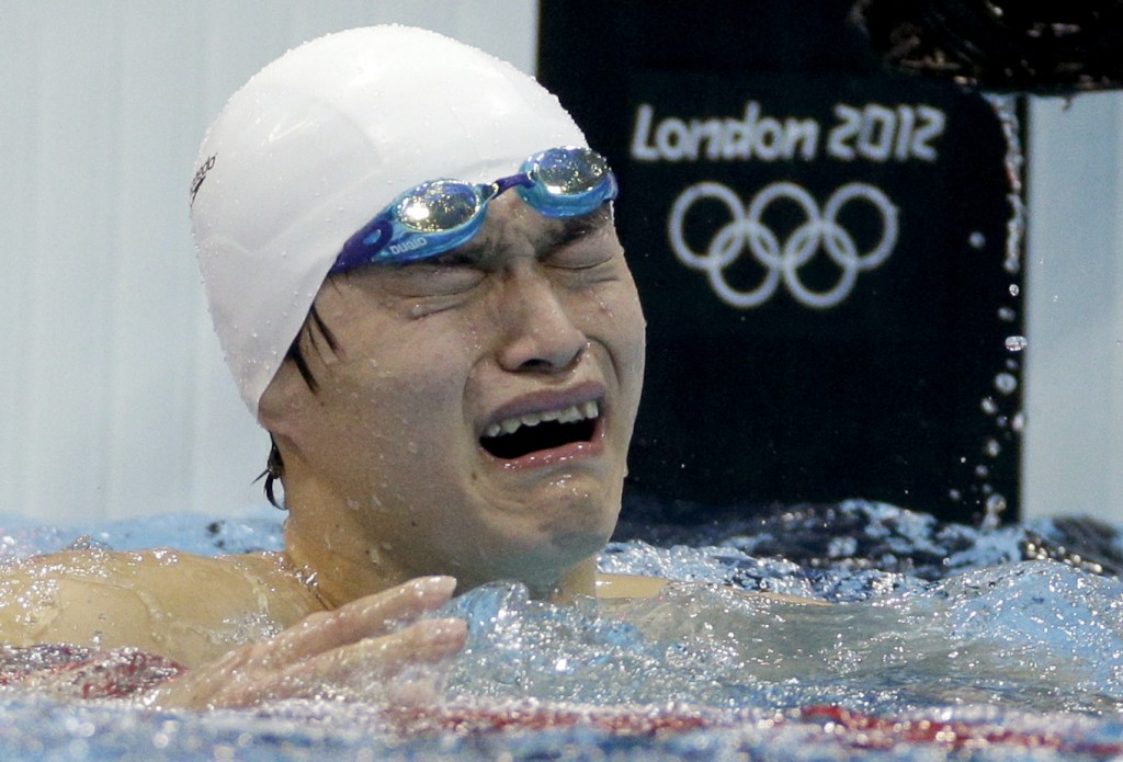 Sun Yang overcome by emotion after his gold medal win in 2012 Summer Olympics