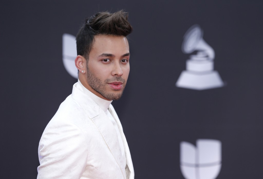 Prince Royce arrives at the 20th Latin Grammy Awards on Thursday, Nov. 14, 2019, at the MGM Grand Garden Arena in Las Vegas. (Photo by Eric Jamison/In...