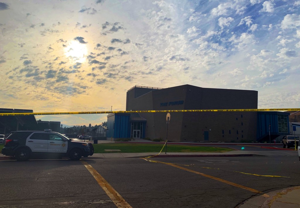 The sun begins to set over Saugus High School in Santa Clarita, Calif., late Thursday afternoon, Nov. 1, 2019, after a shooting incident there that mo...