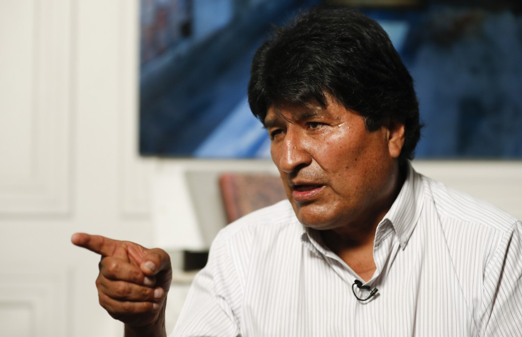Former Bolivian President Evo Morales speaks during an interview with The Associated Press in Mexico City, Thursday, Nov. 14, 2019. Mexico granted asy...