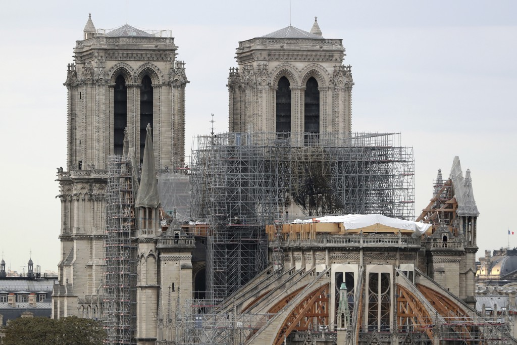 FILE - In this Monday, Sept. 9, 2019 file photo, the Notre Dame cathedral is pictured in Paris. General Jean-Louis Georgelin who is to oversee reconst...