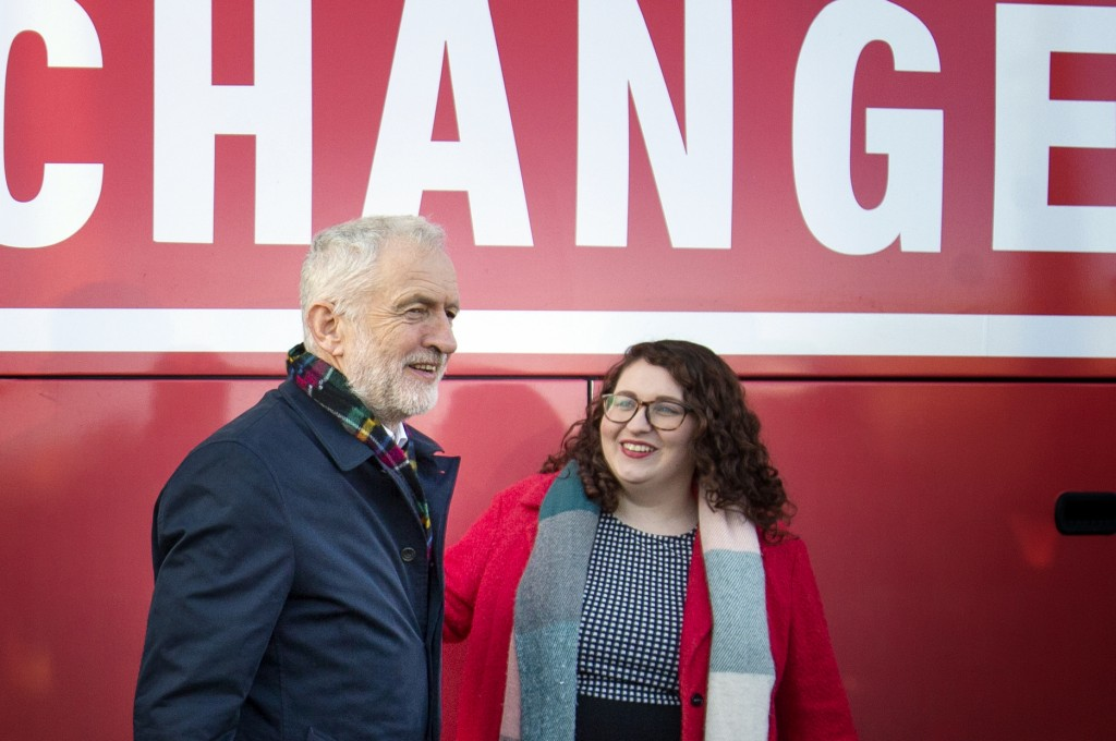 Britain's Labour Party leader Jeremy Corbyn and Shadow Minister for Climate Justice Danielle Rowley visit the National Mining Museum at the former Lad...