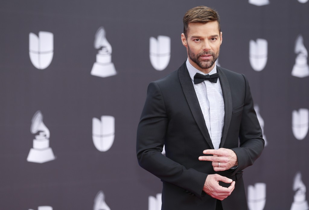Ricky Martin arrives at the 20th Latin Grammy Awards on Thursday, Nov. 14, 2019, at the MGM Grand Garden Arena in Las Vegas. (Photo by Eric Jamison/In...