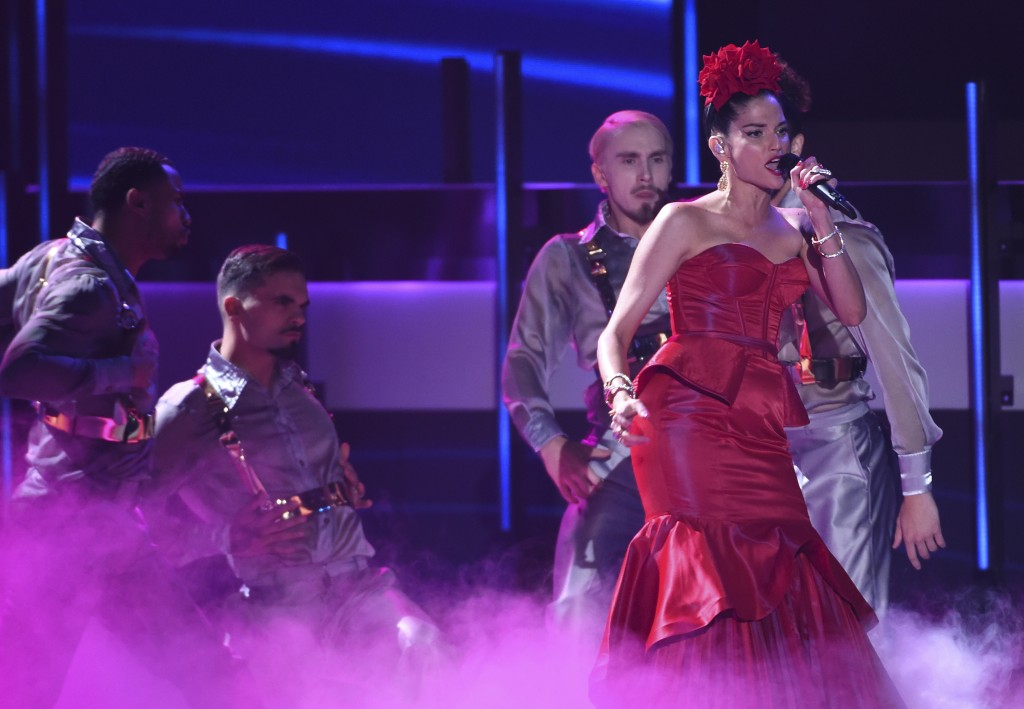 Natalia Jimenez performs at the 20th Latin Grammy Awards on Thursday, Nov. 14, 2019, at the MGM Grand Garden Arena in Las Vegas. (AP Photo/Chris Pizze...