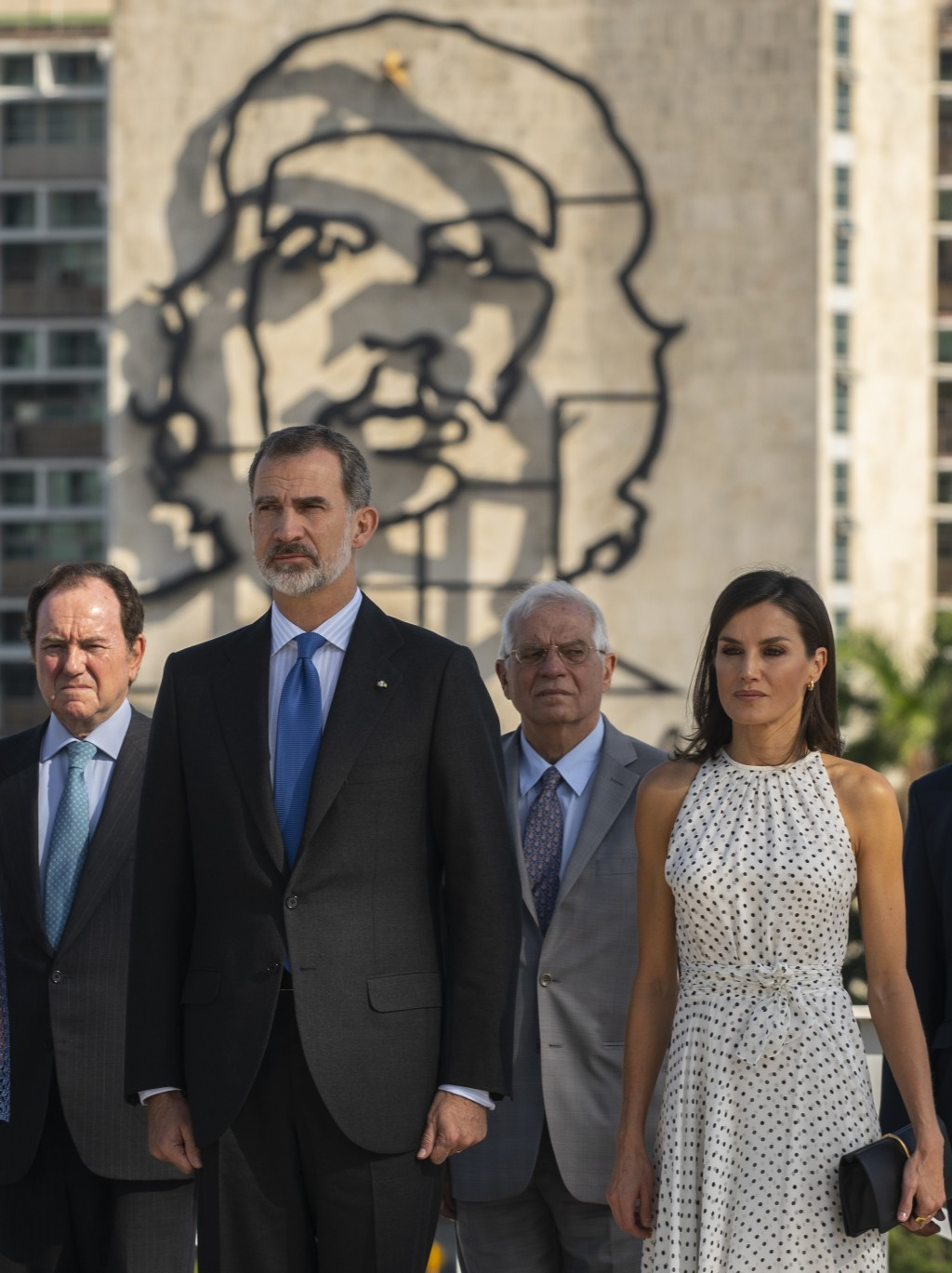 In this Tuesday, Nov. 12, 2019 photo, Spain's King Felipe VI and Queen Letizia attend a ceremony for Cuban Independence Hero Jose Marti at Revolution ...