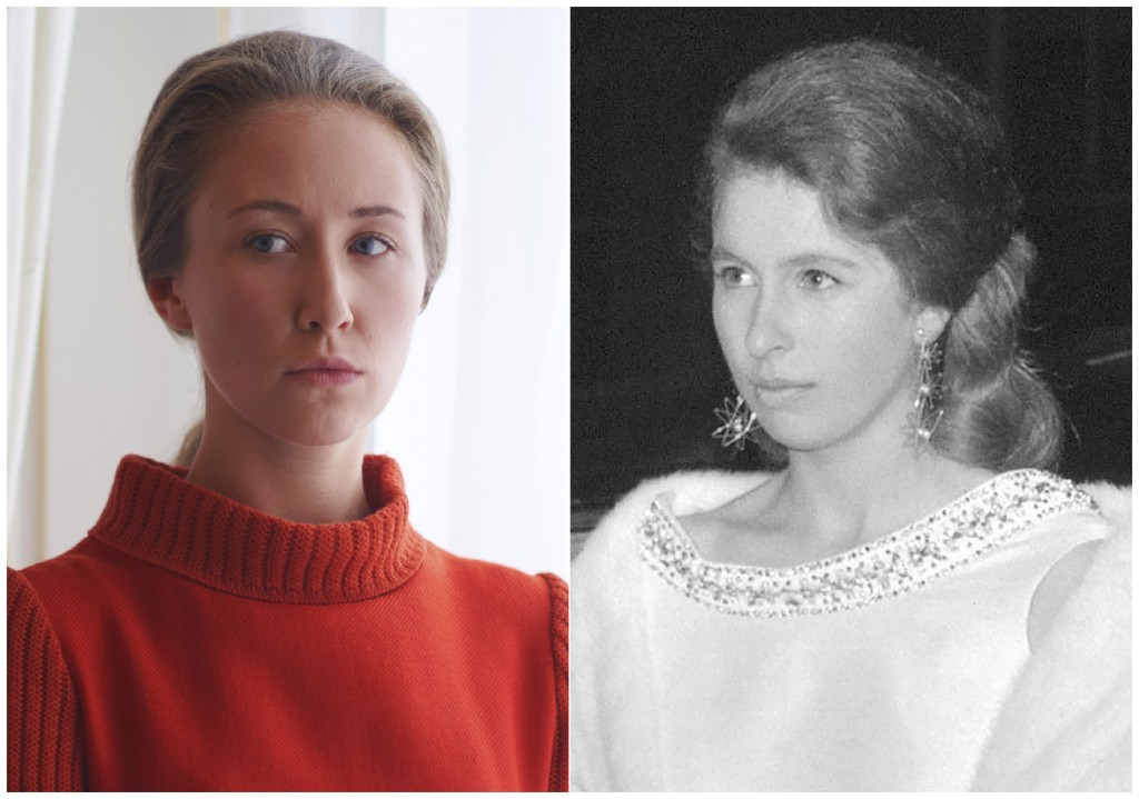 """This combination of photos shows actress Erin Doherty portraying Princess Anne in a scene from the third season of """"The Crown,"""" left, and Princess Ann..."""