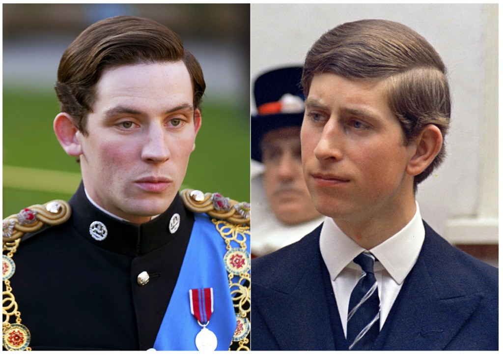 """This combination of photos shows actor Josh O'Connor portraying Prince Charles in a scene from the third season of """"The Crown,"""" left, and Prince Charl..."""