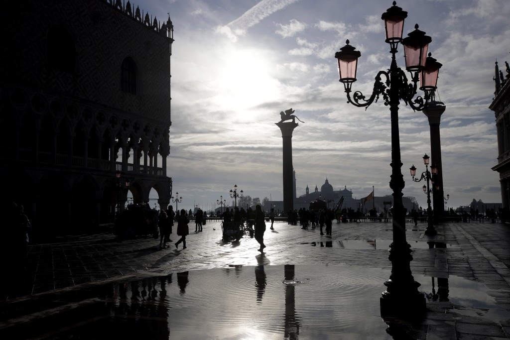 Water starts rising again in Venice, Italy, Saturday, Nov. 16, 2019. High tidal waters returned to Venice on Saturday, four days after the city experi...