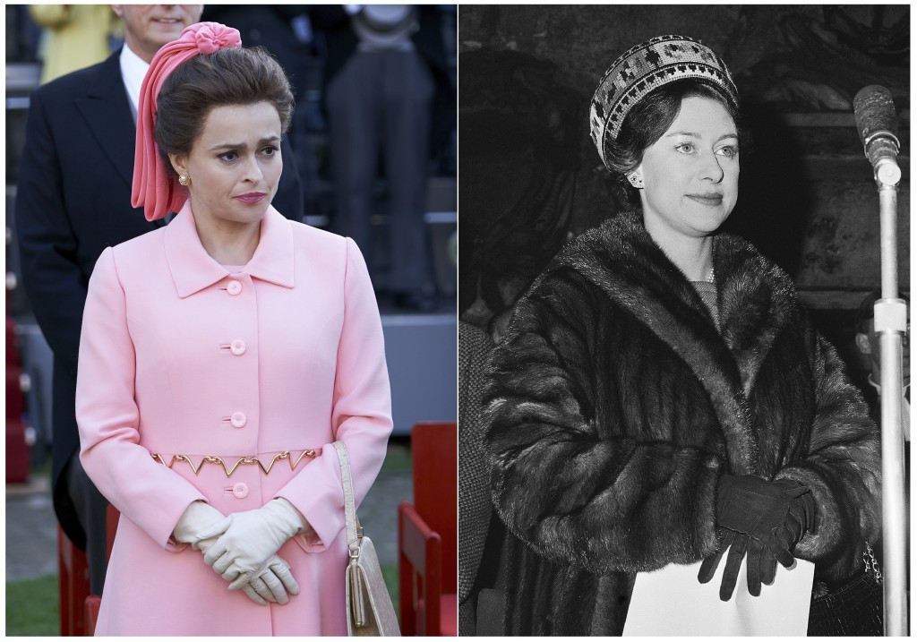 """This combination of photos shows actress Helena Bonham Carter, portraying Princess Margaret, in a scene from the third season of """"The Crown,"""" left, an..."""