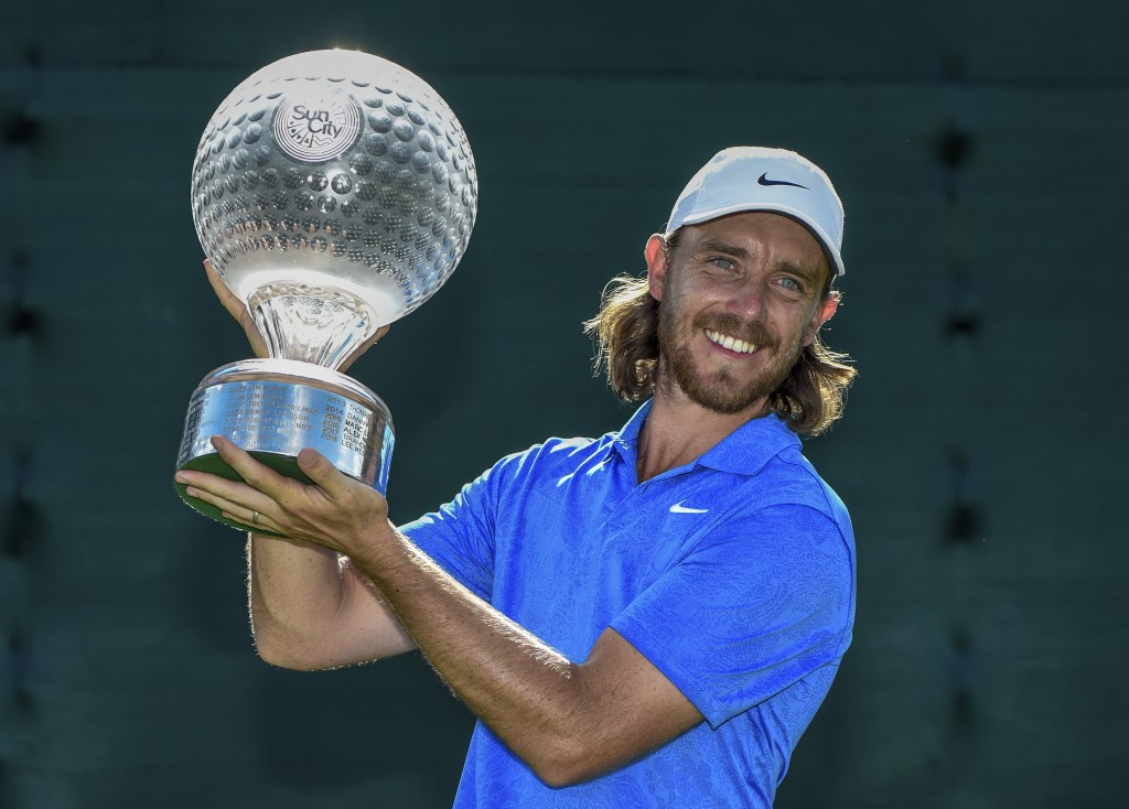 England's Tommy Fleetwood celebrates winning the the 39th edition of the Nedbank Golf Challenge, at Sun City, South Africa, Sunday, Nov. 17 2019. Flee...