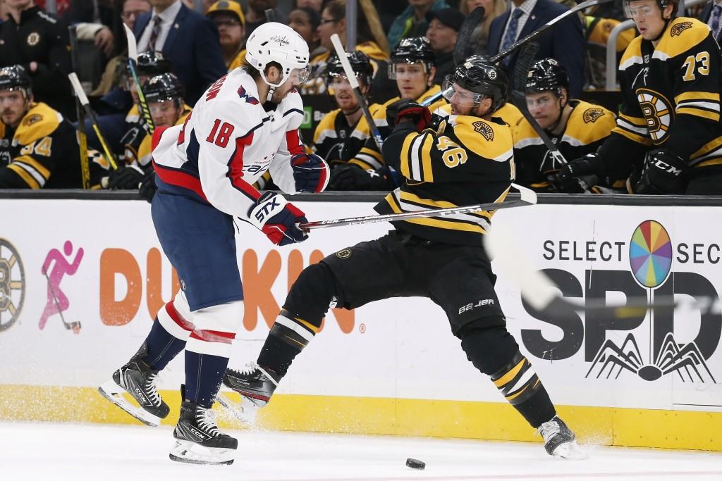 Washington Capitals' Chandler Stephenson (18) checks Boston Bruins' David Krejci (46) during the second period of an NHL hockey game in Boston, Saturd...
